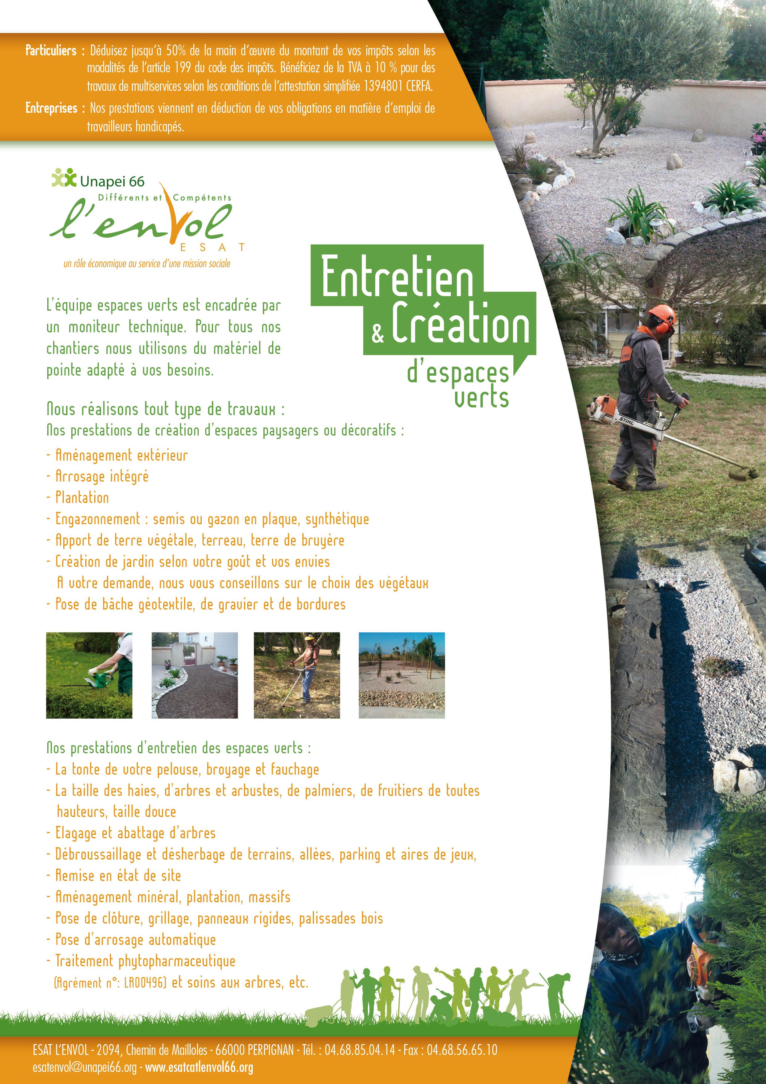 Esat l 39 envol activit s espaces verts atelier espaces for Espace vert perpignan